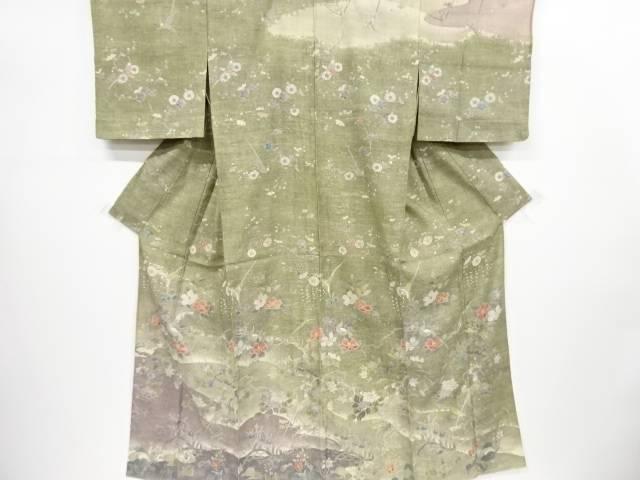 【IDnet】 生紬楓に椿・鳥模様単衣着物【リサイクル】【中古】【着】