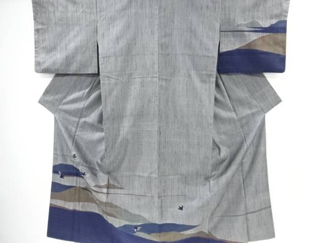 【IDnet】 遠山に鳥模様織り出し手織り縦節紬訪問着【リサイクル】【中古】【着】