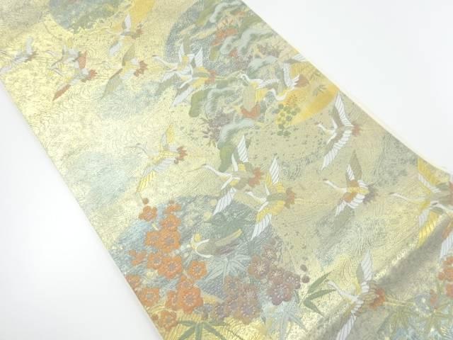 【IDnet】 本金引箔群鶴に松竹梅模様織り出し袋帯【リサイクル】【中古】【着】