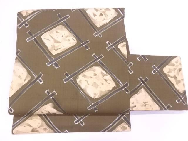 【IDnet】 未使用品 作家物 手織り紬抽象模様作り帯【リサイクル】【着】