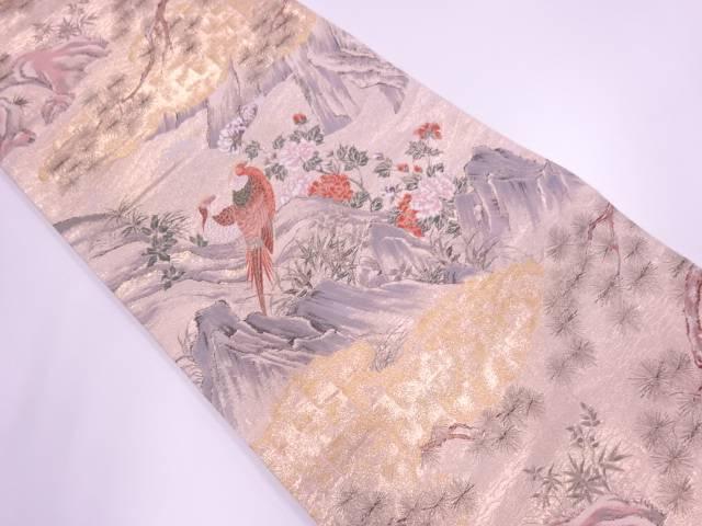 【IDnet】 四季花鳥図織出し全通袋帯【リサイクル】【中古】【着】