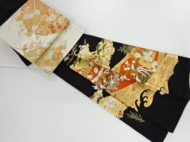 【IDnet】 金彩鳳凰に花・扇模様刺繍留袖(比翼付き) 袋帯セット【リサイクル】【中古】【着】