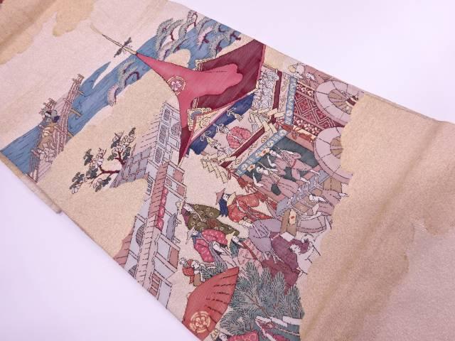 【IDnet】 綴れ山鉾に時代人物風景模様織出し袋帯【リサイクル】【中古】【着】