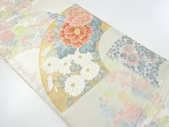 【IDnet】 金銀糸地紙に牡丹・菊模様織り出し袋帯【リサイクル】【中古】【着】