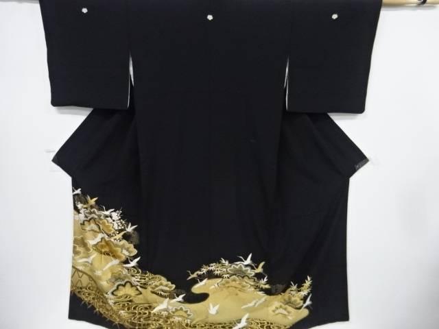 【IDnet】 金彩松竹梅に蛇籠・鶴模様刺繍留袖(比翼付き)【リサイクル】【中古】【着】