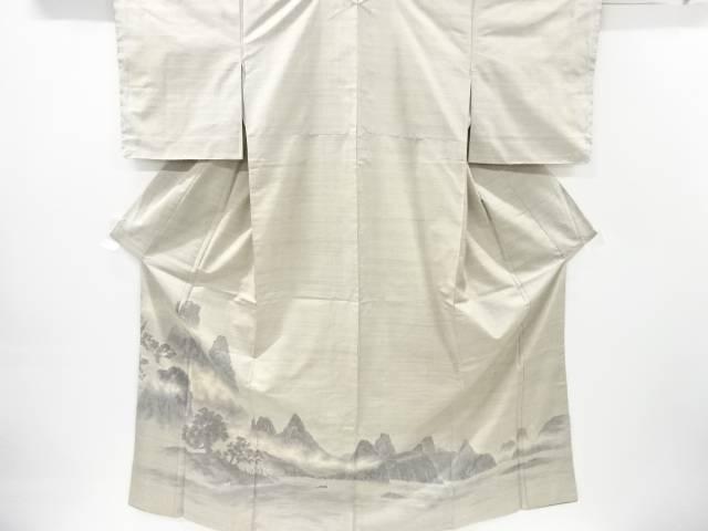 【IDnet】 未使用品 遠山に樹木・湖畔風景模様織り出し本場白大島紬訪問着(7マルキ)【リサイクル】【着】