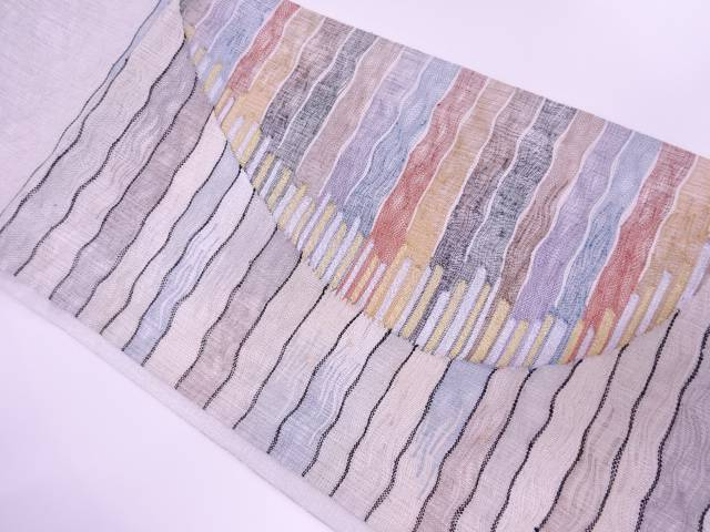 【IDnet】 未使用品 すくい織抽象模様織出し袋帯(未仕立て)【リサイクル】【着】