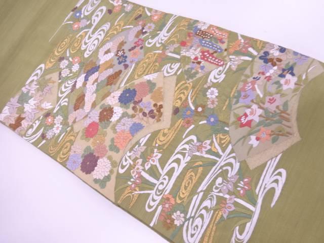 【IDnet】 上田紬地紙に流水・草花模様織出し袋帯【リサイクル】【中古】【着】