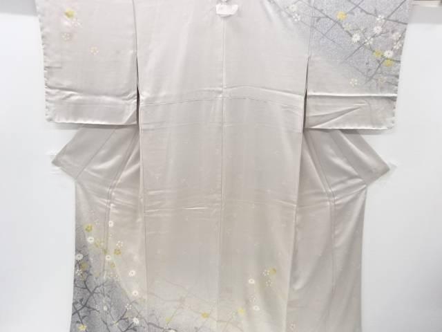 【IDnet】 未使用品 金彩枝葉に菊・梅鉢模様刺繍一つ紋訪問着【リサイクル】【着】
