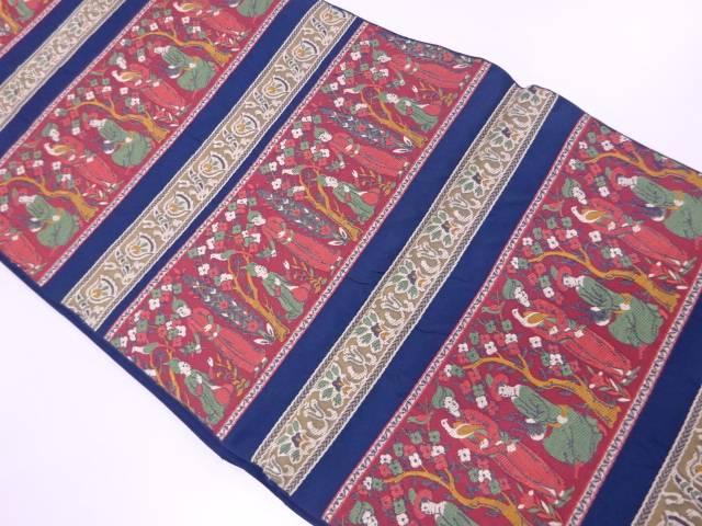 【IDnet】 川島織物製 横段に人物・花鳥模様織出し袋帯【リサイクル】【中古】【着】