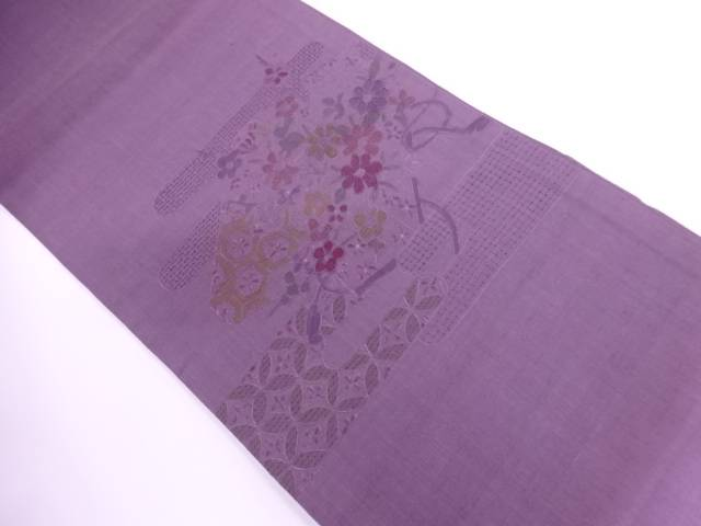 【IDnet】 手織り紬相良刺繍ヱ霞に草花模様袋帯【リサイクル】【中古】【着】