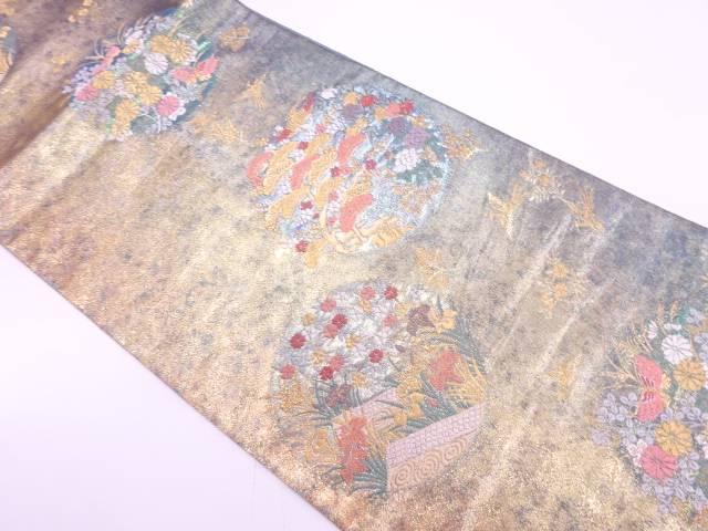 【IDnet】 丸紋に草花・蝶模様織出し袋帯【リサイクル】【中古】【着】