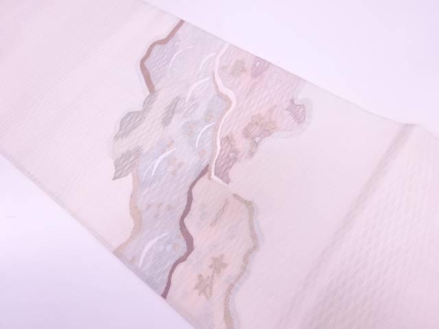 【IDnet】 紗 すくい織芝草に山並み模様織出し袋帯【リサイクル】【中古】【着】