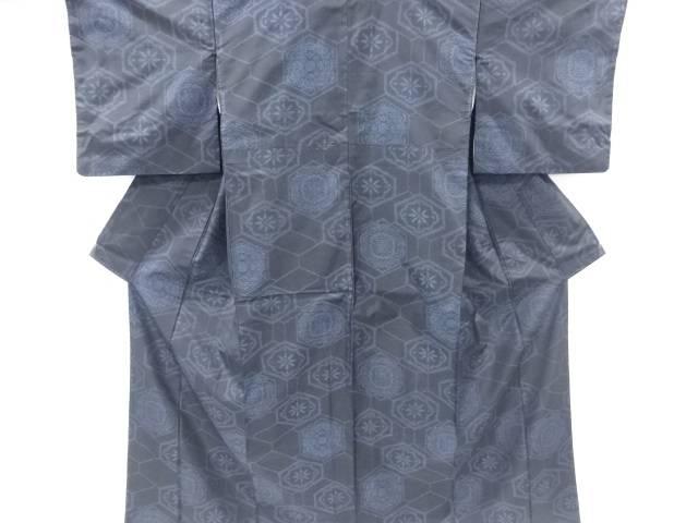 【IDnet】 亀甲に華紋織出本場泥大島紬着物アンサンブル【リサイクル】【中古】【着】