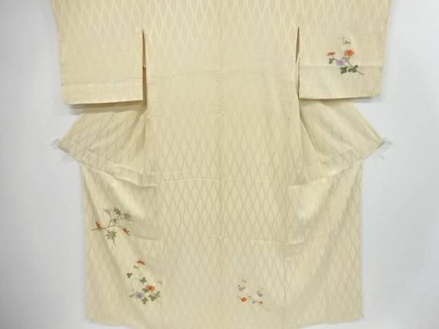 【IDnet】 菊に楓・枝梅模様刺繍訪問着【リサイクル】【中古】【着】