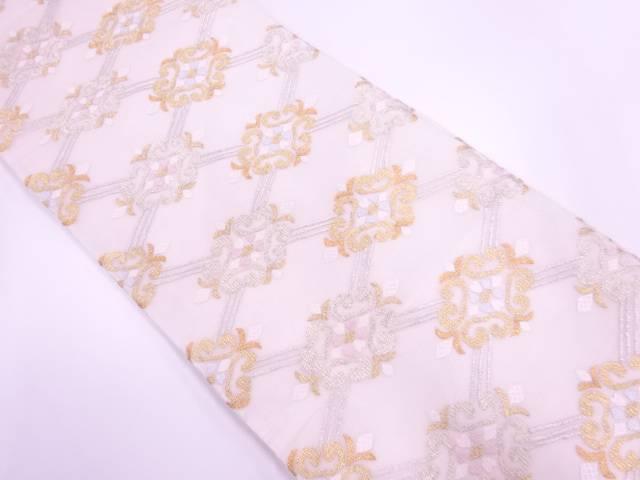 【IDnet】 紗 襷に抽象花模様織出し袋帯【リサイクル】【中古】【着】