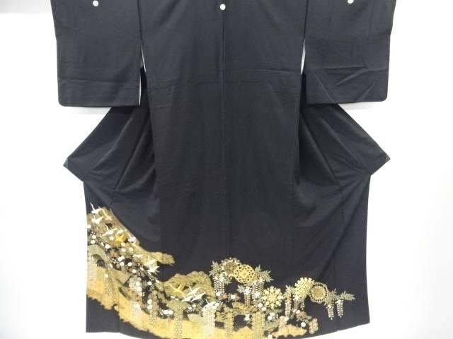 【IDnet】 金彩群鶴に松桜扇模様刺繍留袖(比翼付き)【リサイクル】【中古】【着】