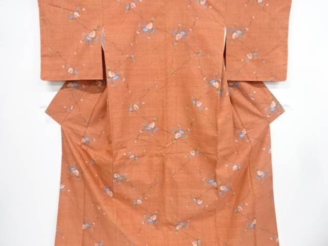 【IDnet】 未使用品 仕立て上がり 枝花模様織り出し手織り真綿紬着物【着】
