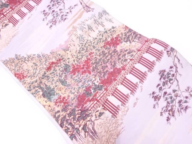 【IDnet】 純金箔樹木風景模様織出し袋帯【リサイクル】【中古】【着】