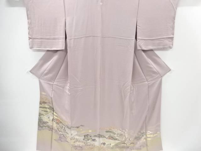 【IDnet】 寿光織巻物に時代風景模様織り出し一つ紋色留袖【リサイクル】【中古】【着】
