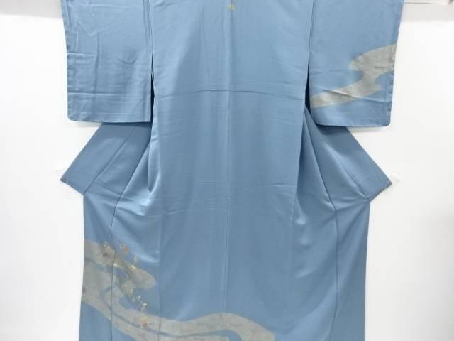【IDnet】 未使用品 金彩流水に万寿菊模様刺繍一つ紋訪問着(重ね衿付き)【リサイクル】【着】