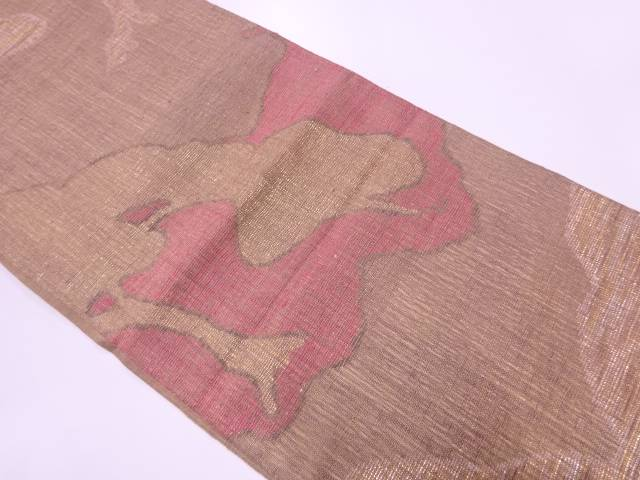 【IDnet】 手織り紬抽象模様織出し袋帯【リサイクル】【中古】【着】