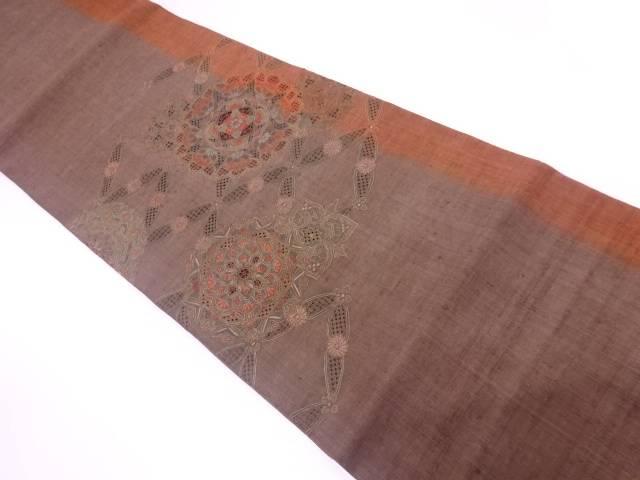 【IDnet】 汕頭蘇州刺繍手織り紬華紋に七宝模様袋帯【リサイクル】【中古】【着】