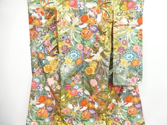 【IDnet】 金糸鳳凰に牡丹・菊・草花模様織り出し花嫁衣装色打掛【リサイクル】【中古】【着】