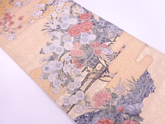 【IDnet】 ヱ霞に花車模様織出し袋帯【リサイクル】【中古】【着】