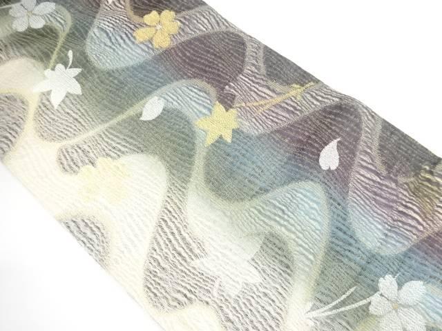 【IDnet】 本金すくい織竜田川に花模様織り出し袋帯【リサイクル】【中古】【着】