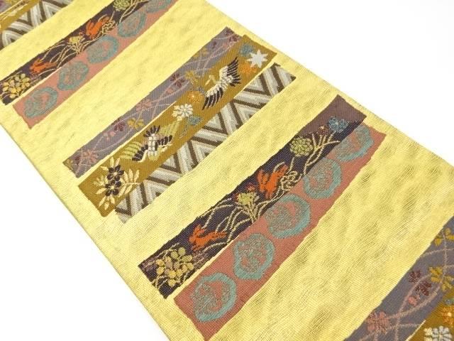 【IDnet】 本金横段兎・花鳥模様織り出し袋帯【リサイクル】【中古】【着】