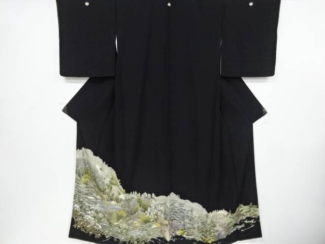 【IDnet】 手描き友禅遠山に家屋・水辺風景模様留袖(比翼付き)【リサイクル】【中古】【着】