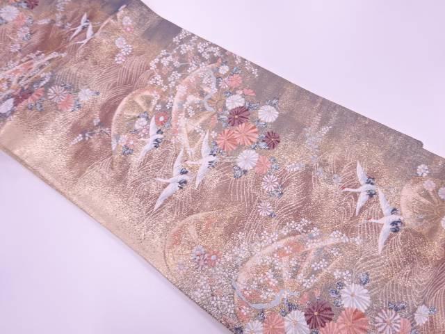【IDnet】 群鶴に草花・波車模様織出し袋帯【リサイクル】【中古】【着】