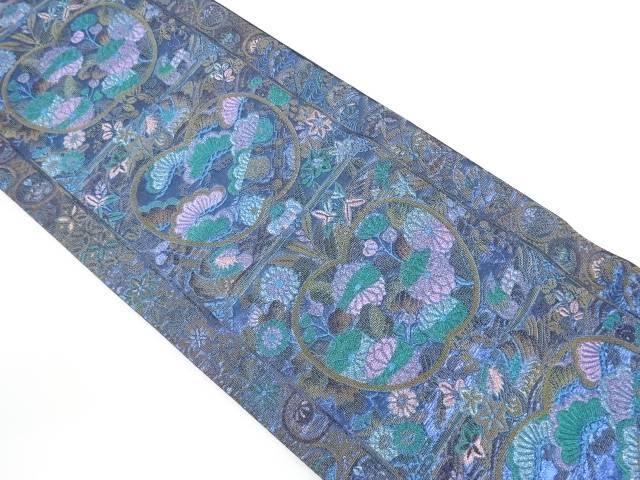 【IDnet】 松・菊に鴛鴦模様織り出し袋帯【リサイクル】【中古】【着】