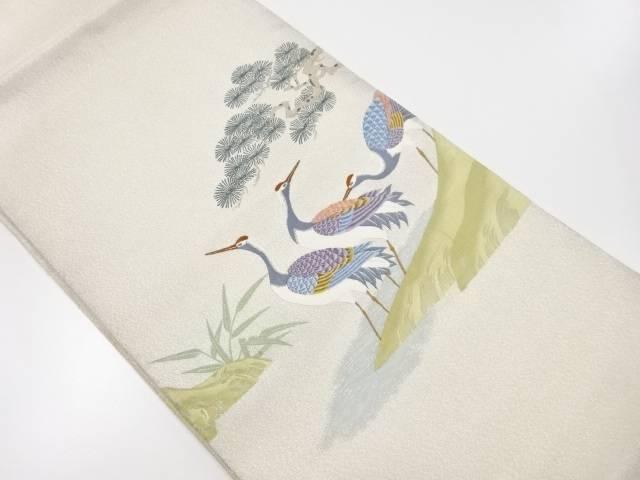 【IDnet】 綴れ銀通し松に群鶴模様織り出し袋帯【リサイクル】【中古】【着】
