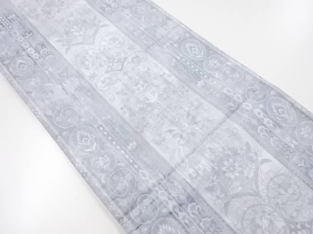【IDnet】 縞に花更紗模様織り出し袋帯【リサイクル】【中古】【着】
