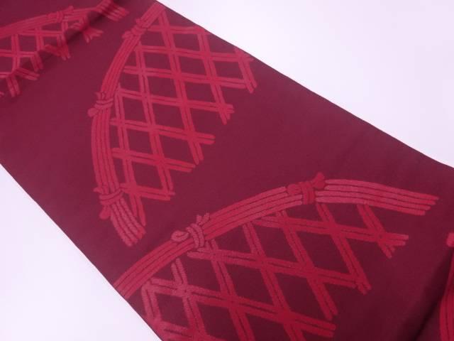 【IDnet】 本家加納製 漆光悦垣模様織出し袋帯【リサイクル】【中古】【着】