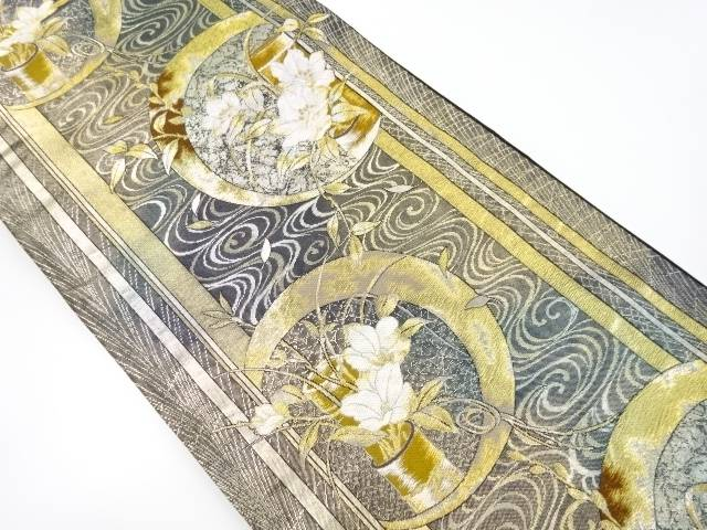 【IDnet】 本金円窓に花模様織り出し袋帯【リサイクル】【中古】【着】
