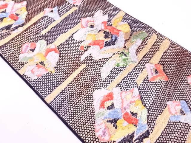 【IDnet】 霞に抽象模様織出し袋帯【リサイクル】【中古】【着】