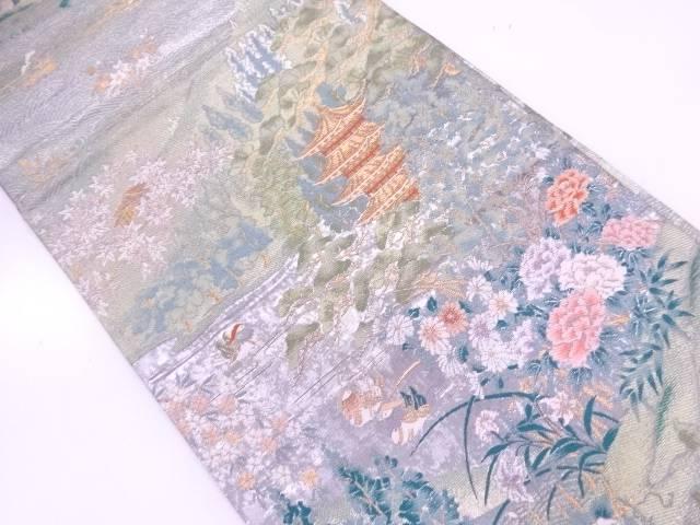 【IDnet】 草花に鴛鴦・塔模様織出し袋帯【リサイクル】【中古】【着】