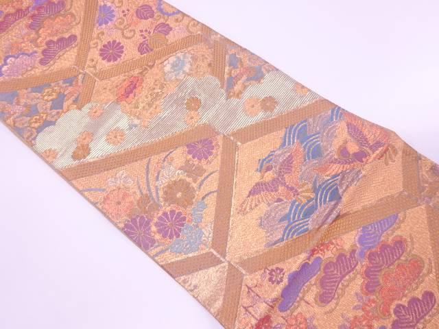 【IDnet】 佐賀綴れ松に花鳥模様織出し袋帯【リサイクル】【中古】【着】