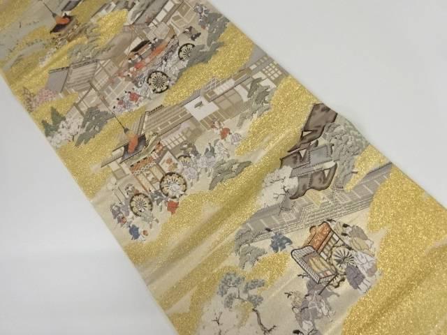 【IDnet】 未使用品 金糸時代人物風景模様織り出し袋帯【リサイクル】【着】