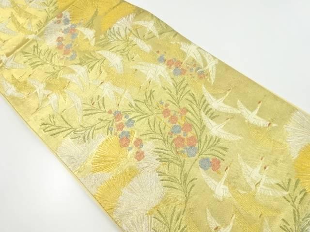 【IDnet】 本金松・梅に群鶴模様織り出し袋帯【リサイクル】【中古】【着】