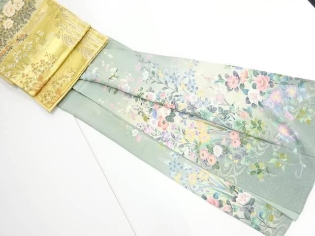 【IDnet】 手描き友禅牡丹・菊に花鳥模様訪問着・袋帯セット【リサイクル】【中古】【着】