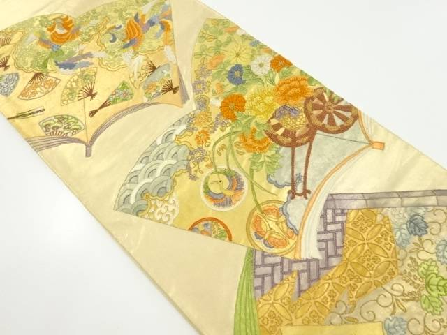 【IDnet】 相良刺繍読本に花車・鳳凰模様袋帯【リサイクル】【中古】【着】