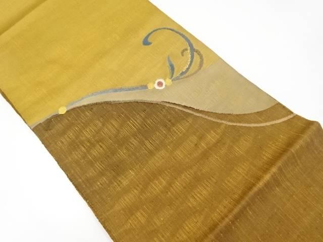 【IDnet】 未使用品 手織り節紬枝花模様織り出し袋帯【リサイクル】【着】