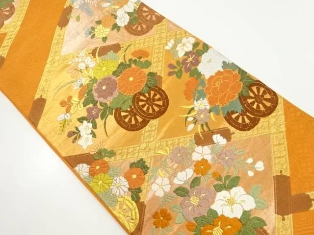 【IDnet】 金糸花車模様織り出し袋帯【リサイクル】【中古】【着】