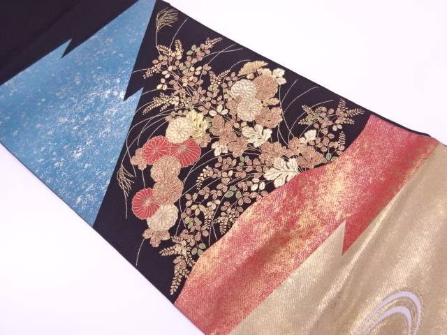 【IDnet】 秋草模様織出し袋帯【リサイクル】【中古】【着】