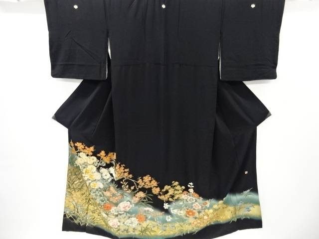 【IDnet】 坂東八十助 金彩菊・楓・牡丹模様刺繍留袖(比翼付き)【リサイクル】【中古】【着】