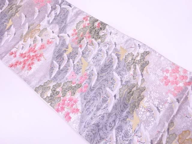 【IDnet】 群鶴に松・紅葉模様織出し袋帯【リサイクル】【中古】【着】